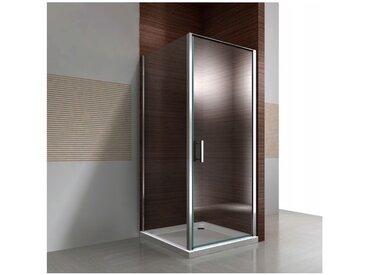 Paroi de douche d'angle en verre véritable de 8mm NANO transparent DX416 - largeur sélectionnable: 80cm, 80cm