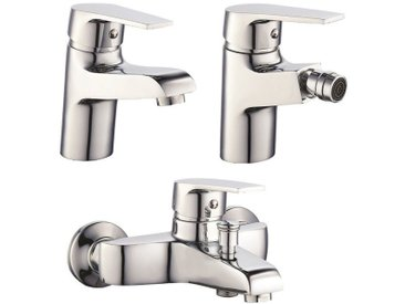 Set Mitigeurs lavabo bidet et baignoire en laiton chromé serie Europa | Chromè