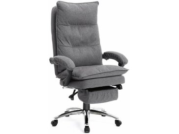 Fauteuil chaise de bureau ergonomique gamer avec repose pieds dossier réglable capacité de charge 150 kg revêtement en lin gris - Gris