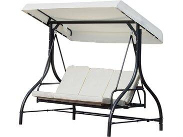 Balancelle de jardin 3 places convertible inclinaison toit réglable matelas grand confort rembourrage 8 cm fourni 1,85L x 1,25l x 1,73H m métal époxy noir crème