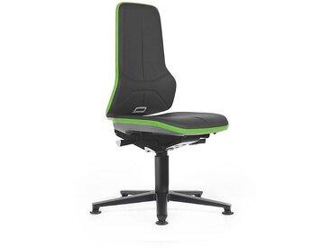 Siège d'atelier NEON avec patins, assise en similicuir, noir/vert