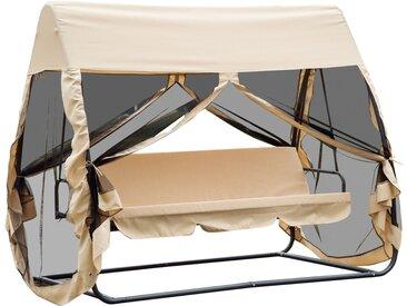 Balancelle de jardin convertible 3 places grand confort : matelas assise dossier, moustiquaire intégrale zippée avec toit, pochette rangement métal époxy polyester beige