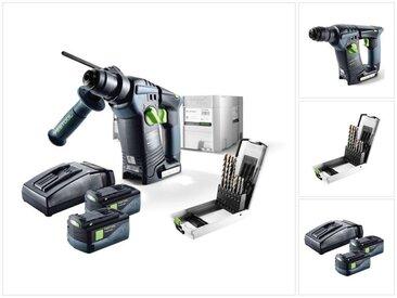 Festool BHC 18 Li Plus Perforateur sans fil avec boîtier Systainer + 2x Batteries BP 5,2 Ah + Chargeur rapide TCL 6 ( 574720 ) + 7 Forets SDS ( 499924 )
