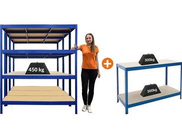 Mega Deal | 3x étagères métalliques - Profondeur 60 cm - Charge max 450 kg et 1x établi