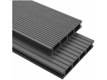 Panneaux de terrasse WPC avec accessoires 35 m² 4 m Gris