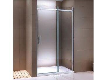 Paroi de douche fixe et porte coulissante DX806A FLEX en verre véritable traitement Nano - largeur sélectionnable: 100cm