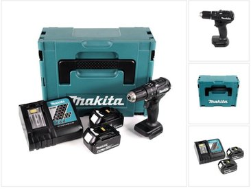 Makita DHP 483 RMJ B Perceuse visseuse à percussion sans fil 18 V noir Brushless en Coffret MAKPAC + 2x Batteries 4,0 Ah + Chargeur rapide