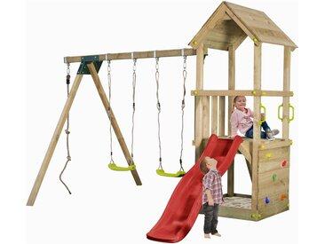 Aire de jeux en bois enfants 3-12 ans, toboggan rouge, 2 balancoires, bac a sable et mur d'escalade