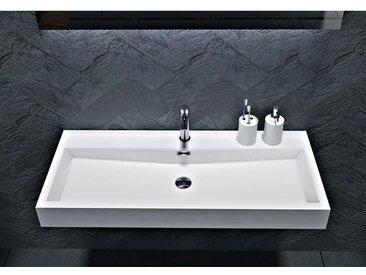 Lavabo mural / lavabo à poser en marbre coulé BS6002 -blanc- 76,5 cm et 100cm: 100cm - avec trou prépercé