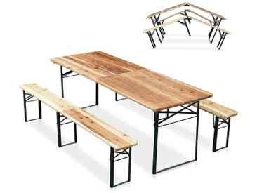 Table de brasserie pliante bancs bois ensemble 220x80