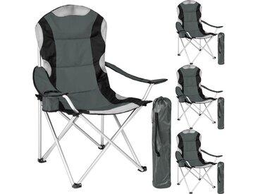 Lot de 4 Chaises de Camping pliables avec Porte Gobelet et Housse Sac de Transport Gris Noir
