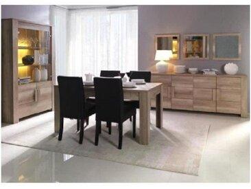 Salle à manger complète FERRARA. Buffet + Vitrine/vaisselier + Miroirs + table en 160 cm - Marron