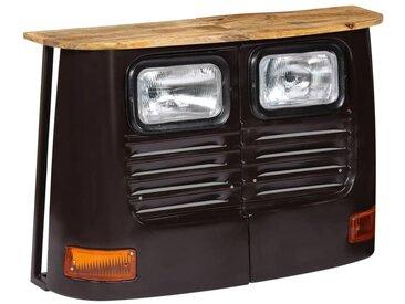 Helloshop26 - Buffet bahut armoire console meuble de rangement en forme de camion bois de manguier massif gris foncé - Bois