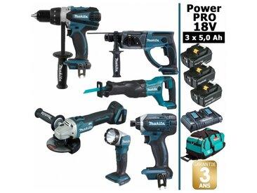Pack Power PRO 6 outils 18V: Perceuse DDF458 + Perfo DHR202 + Meuleuse DGA504 + Visseuse à chocs DTD152 + Scie récipro DJR186 + Lampe Torche LED + 3 batt 5Ah + sac MAKITA