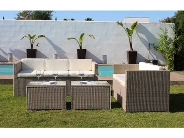 Ensemble de meubles de jardin et terrasse, 6 sièges, beige, rotin synthétique, canapés (160x69x65), table (61x61x37) - Kiefergarden