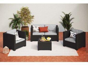 Ankara 4 coffre : Salon de jardin 4 places effet résine injectée gris anthracite + coffre