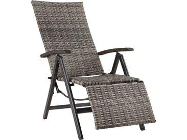 Fauteuil Chaise Longue de Relaxation Réglable Pliant avec 1 Repose Pieds en Résine Tressée 76 cm x 57,5 cm x 113 cm Gris