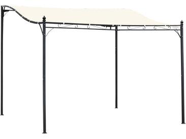Outsunny - Pergola tonnelle de jardin auvent 2,97 x 2,97 m adossable métal noir polyester imperméabilisé anti-UV beige