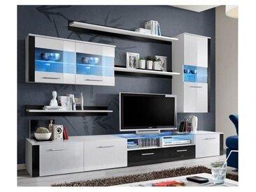 Meuble TV Mural Design Logo Fresh 250cm Blanc et Noir - Blanc