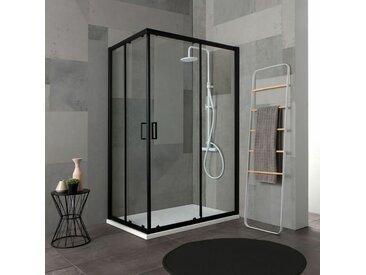 Cabine Douche 80X100 H 190 Profile Noir Opaque Cristal Transparent City