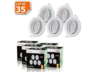 LOT DE 35 SPOT LED ENCASTRABLE COMPLETE ORIENTABLE BLANC AVEC AMPOULE GU10 230V eq. 50W, LUMIERE BLANC NEUTRE