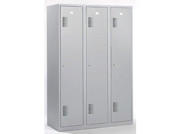 QUIPO Vestiaire - largeur 1200 mm, 3 compartiments de 398 mm, serrure à cylindre - entièrement gris clair - Coloris des portes: Gris clair