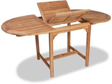 Hommoo Table extensible de jardin (110-160)x80x75 cm Teck solide