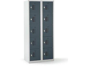 QUIPO – Vestiaire multicases verrouillable par dispositif pour cadenas, 10 cases - h x l x p 1800 x 800 x 500 mm, gris - Coloris des portes: Gris basalte RAL 7012