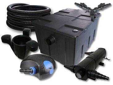 SunSun Kit filtration de bassin 60000l avec 24W Stérilisateur 100W éco Pompe 25m Tuyau Skimmer SK40
