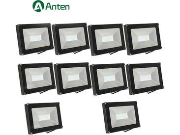 10×Anten 50W Projecteur LED Spot LED Étanche IP65 Lumière Extérieur et Intérieur 4000LM Blanc Neutre 4000K Coque Noir