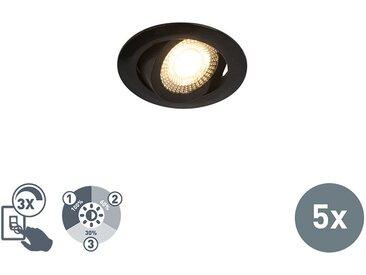 Lot de 5 spots encastrables noir avec LED dimmable en 3 étapes - Mio Qazqa Moderne Luminaire interieur Rond