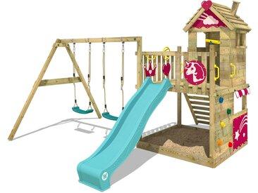 Aire de jeux WICKEY Smart Sparkle avec toboggan Turquoise, bac à sable et balançoire