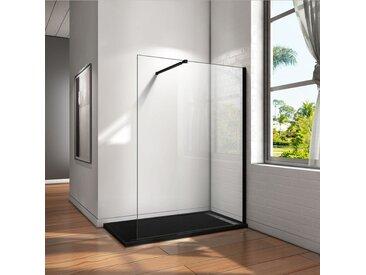 Paroi de douche 140x200cm en noire mat paroi à l'italienne en 8mm verre anticalcaire livré avec une barre de fixation extensible en noire mat
