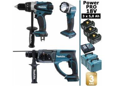 Pack Makita Power PRO 18V: Perceuse 91Nm DDF458 + Perfo 2J DHR202 + Lampe Torche Led 180lm + 3 batt 5Ah + 2 coffrets MAKPAC MAKITA
