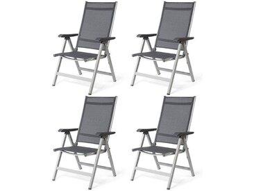 COSTWAY Lot de 4 Chaises de Jardin Pliantes avec Accoudoirs Réglable en 5 Positions Chaise de Camping d'Extérieur Cadre en Aluminium Noir Gris 69cm x 60 cm x 110cm Charge Max.150KG