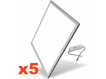 Dalle LED 60x60 Slim 48W ALUMINIUM (Pack de 5) - couleur eclairage : Blanc Chaud 2300K - 3500K