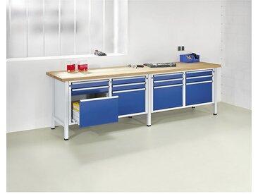 ANKE Etabli extra-large, 12 tiroirs, 8 x 90 mm, 4 x 360 mm, hauteur 890 mm plateau à revêtement en tôle d'acier