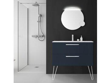 Meuble de salle de bain 100 cm couleur bleu nuit à suspendre simple vasque - So matt