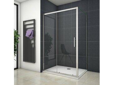 Cabine de douche 120x80x190cm porte de douche + paroi latérale