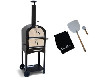 Four à pizza d'extérieur au charbon de bois multifonctions - Calzone - pierre de cuisson roulette pelle et housse
