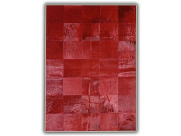Tapis rouge en peau de vache patchwork Almeria Rouge 140x200 - Rouge