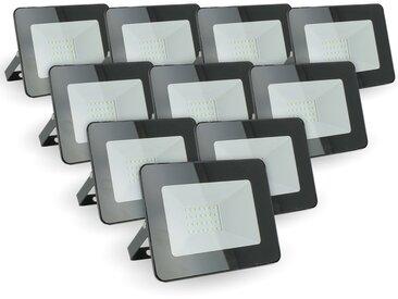Lot de 10 projecteurs 20W IP65 extérieur   Blanc neutre 4000K