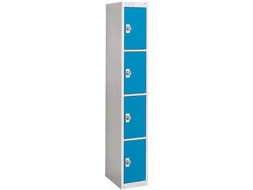 QUIPO Vestiaire métallique verrouillage par cadenas - 4 compartiments, largeur 300 mm - élément de base, porte bleu