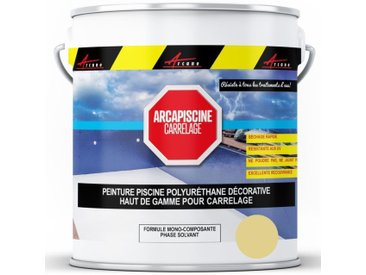 Peinture Piscine pour piscine en carrelage - plus performante qu'une peinture epoxy - ARCANE INDUSTRIES - Ivoire Sable Piscine (ral 1013) - 20 kg (jusqu'à 65m² pour les 2 couches)