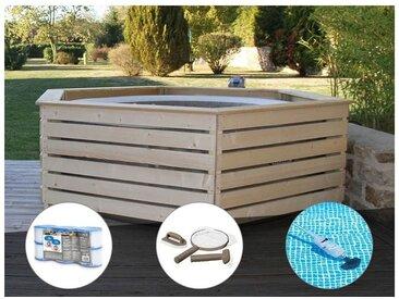 Pack spa gonflable Intex PureSpa Sahara rond Bulles 4 places + Habillage en bois AquaZendo + 6 filtres + Kit d'entretien + Aspirateur