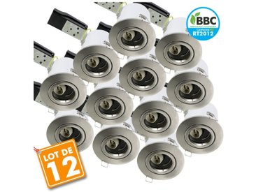 Eclairage Design - Lot de 12 Spot Plafond BBC acier brossé orientable diam 100