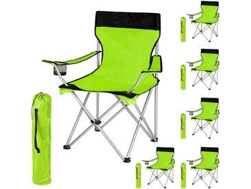 Lot de 6 Chaises de Camping pliables avec Porte Gobelet et Housse Sac de Transport Noir Vert