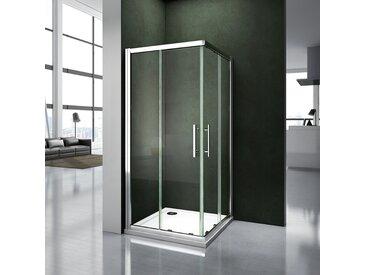 Porte de douche 76x70x187cm cabine de douche 2 verres fixé et 2 verres mobiles
