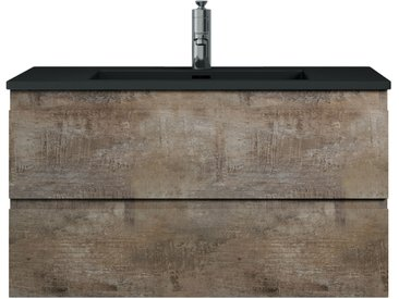 Meuble de salle de bain Angela 90 cm - lavabo noir - Stone Ash - Meuble bas meuble vasque meuble vasque