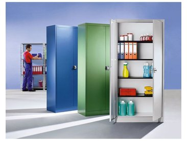 mauser Armoire à portes battantes, h x l ext. 1950 x 950 mm - 4 tablettes, profondeur 420 mm - bleu gentiane - Coloris corps: bleu gentiane RAL 5010
